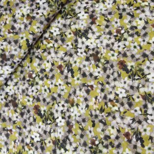 Injet Woll-Viskose mit Blumen gelb