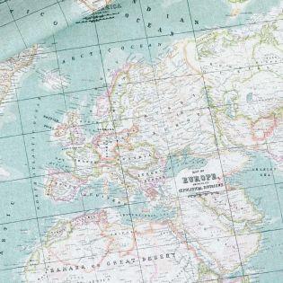 Dekostoff - Weltkarte - mint