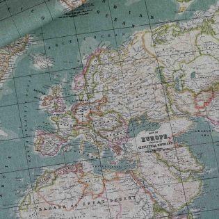 Dekostoff - Weltkarte - rauchblau