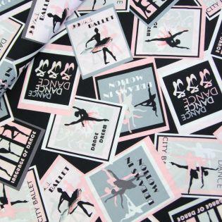 Baumwolle - Patchwork-Stoff - City Ballet - Postkarten