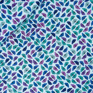 Baumwolle- florales Muster - blau