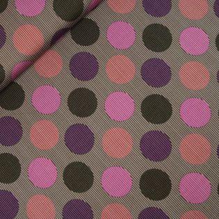 French Terry  - Streifen und Punkte - braun-lila