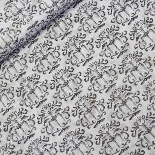 Baumwolle - Patchwork-Stoff - Ornamente - grau