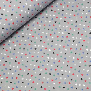 French Terry - Poppy - Triangles - grau