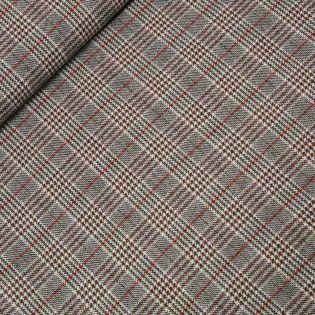Wollstoff - Fashion Check - rot-grau