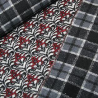 Woll Flausch - Panel - Ornamente - rot-grau