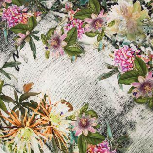 Seide - Inkjet - Blumen - weiss