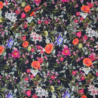 Seide - Inkjet - Blumen - schwarz