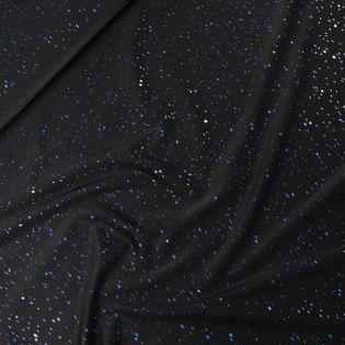 Glitzer-Jersey - Punkte - schwarz-blau