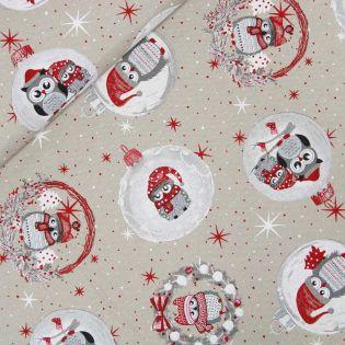 Dekostoff - Weihnachten - Weihnachtskugeln und Eulen