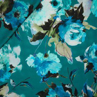 Jacquard-Seide - Mohnblumen - blau