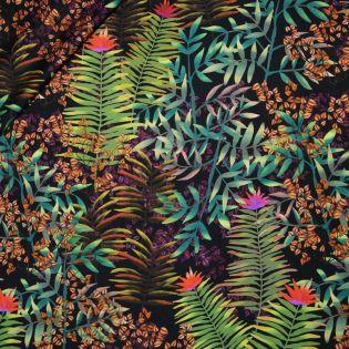 Jacquard-Seide - tropische Blätter - grün