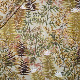 Jacquard-Seide - tropische Blätter - gelb