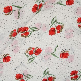 Stitched by you - Chiffon - Bubble - Mohnblumen - weiss