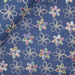 Jeans - Stitched by you - Blumen - Pailletten