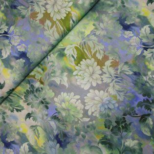 Baumwolle - Diaphanous - Flowers - blau