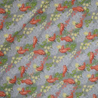 Baumwolle - Dandi Annie - Birds - grau