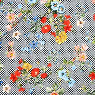 Baumwollvoile - Inkjet - Blumen-Karo