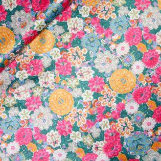 Satin - Inkjet - Blumenstickerei