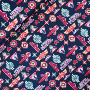 Baumwolle - Camelot Fabrics - Captain Marvel - Logo Toss