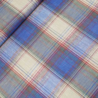 Leinen-Viskose - Streifen-Karos - blau-beige