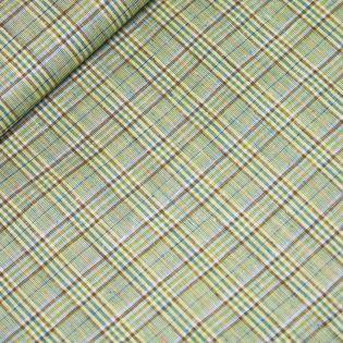 Leinen-Viskose - Glencheck - grün-gelb