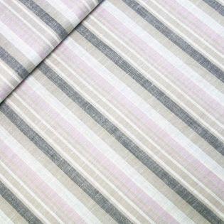 Leinen-Viskose - Streifen - grau-rose
