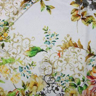 Seide - Blumen und Ornamente - weiss