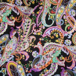 Seide - Blumen-Paisley - schwarz