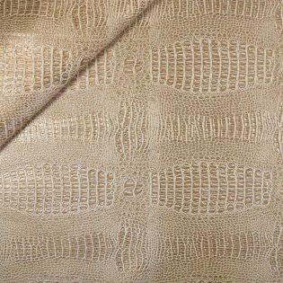 Lederimitat - Krokodiloptik - gold-weiss