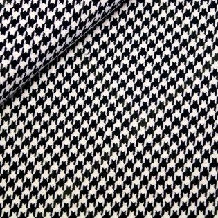 Wollstoff - Hahnentritt - 3-farbig - schwarz-beige-oliv