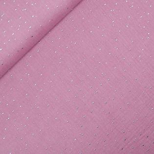 Baumwolle - Musselin - Glitzer-Dots - rose