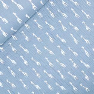 Baumwolle - Musselin - Giraffen - blau