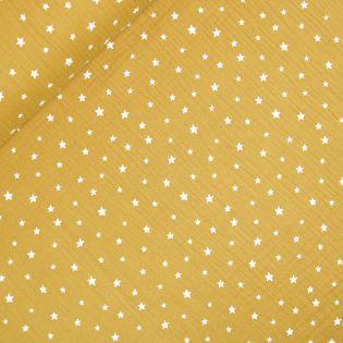 Baumwolle - Musselin - Stars - gelb