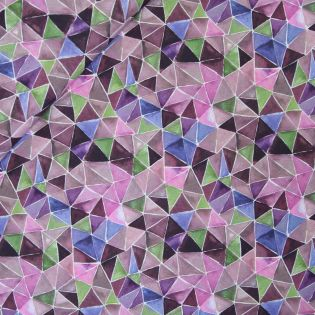 Baumwollvoile - Watercolor Triangles - lila