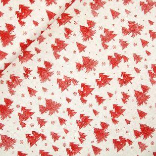 Dekostoff - Weihnachten - Rote Tannenbäume