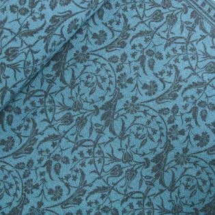 Schurwolle - Blumenranken - blau