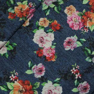 Satinstretch - Inkjet - Blumen - blau