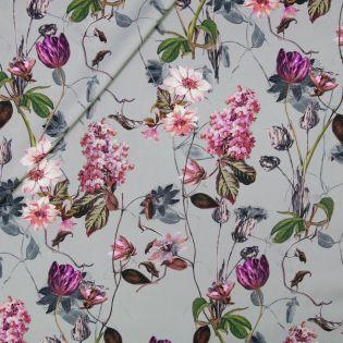 Seide - Floral - grau - lila