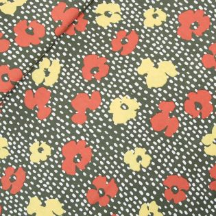 Viskose - Blüten - braun - Digitaldruck