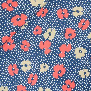 Viskose - Blüten - blau - Digitaldruck
