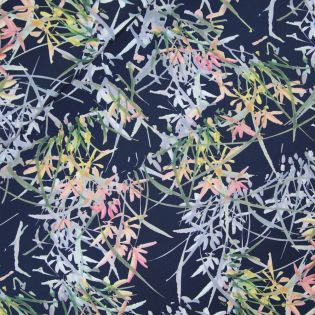 Satinstretch - Stitched by you - Leaves - navy