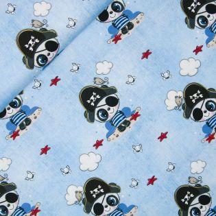 Baumwolljersey - Panda-Pirat - hellblau