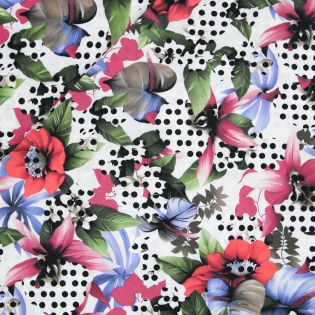 Viskose - Points on Flowers - Inkjet
