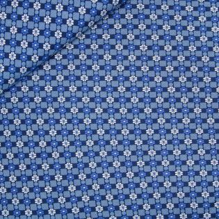 Viskose Stretch - Blütenkacheln - blau