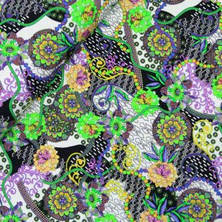French Terry - Paisleyblüten - lila-gelb