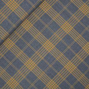 Schurwolle - Schotten-Karo - grau-gelb