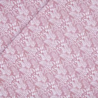 Baumwollvoile - Palmenblätter - rosa