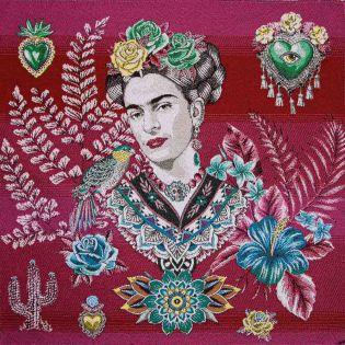 Jacquard Panel - Frida Kahlo - rot-pink