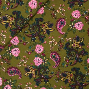 Viskose - Blüten und Paisley